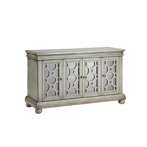 Morris Home Furnishings Cabinets 4 Door Mirrored Cabinet in Brushed Graystone