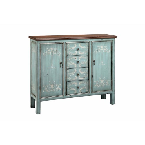 Morris Home Furnishings Cabinets 4 Drawer, 2 Door Wood Top Cabinet in Soft Surf