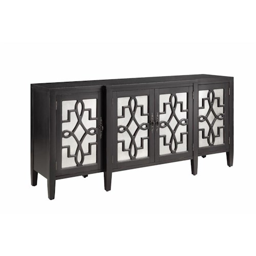 Morris Home Furnishings Cabinets 4 Door Mirrored Credenza in Black w/Rub-through