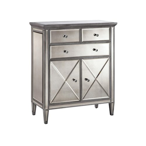 Morris Home Furnishings Cabinets Mirrored 2-Door, 3-Drawer Cabinet