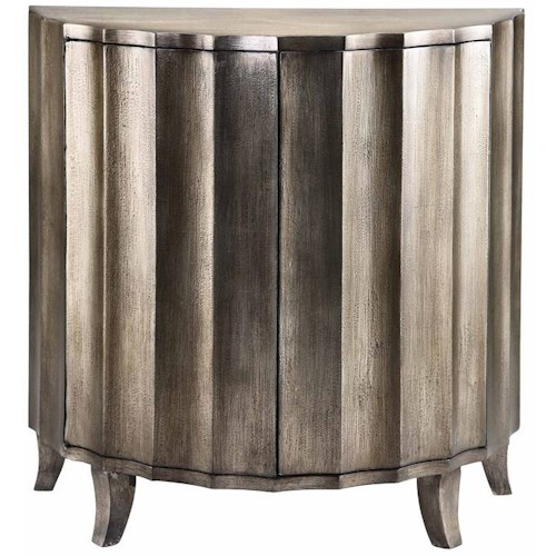 Morris Home Furnishings Cabinets Demilune Cabinet w/ Scalloped Metallic
