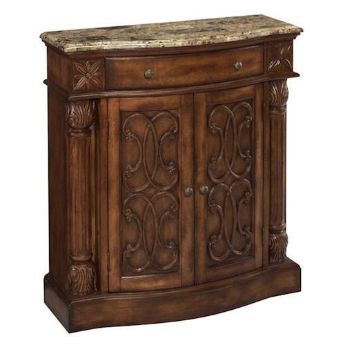 Morris Home Furnishings Cabinets Carved Cabinet with Marble Top