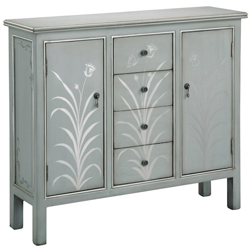 Morris Home Furnishings Cabinets Two Door Silver Blue Accent Cabinet