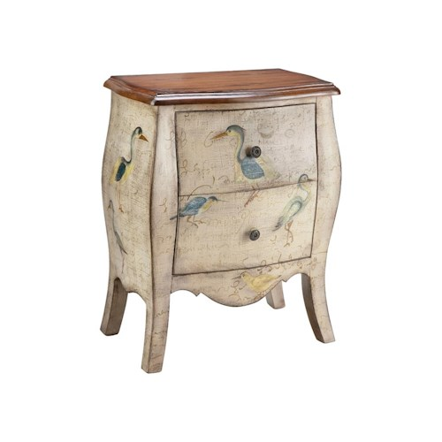 Morris Home Furnishings Chests Accent Chest 2 Drawer Script With Birds