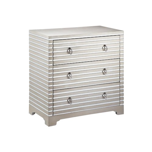 Morris Home Furnishings Chests Chest 3 Drawer Mirrored Strips