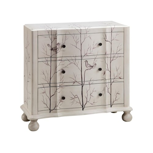 Morris Home Furnishings Chests 3-Drawer Painted Bird Chest