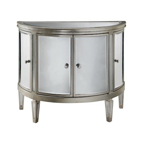 Morris Home Furnishings Chests 4 Door Mirrored Demilune Chest