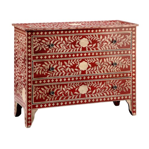 Stein World Chests 3 Drawer Chest - Red Floral