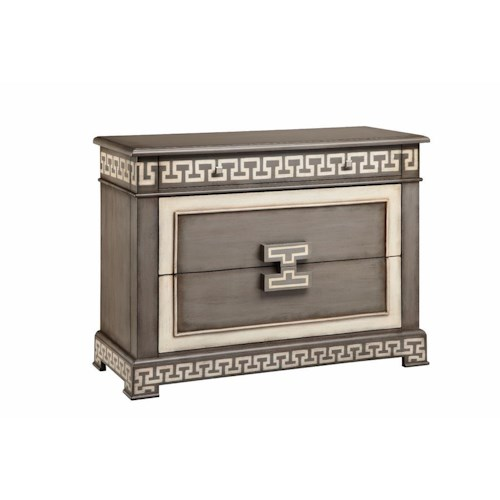 Morris Home Furnishings Chests 3 Drawer Greek Key Chest in Stormy Gray