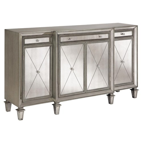 Morris Home Furnishings Chests Mirrored 4-Door Chest