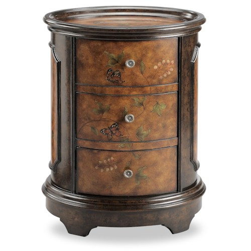 Stein World Chests Oval Accent Table with Butterfly Motif