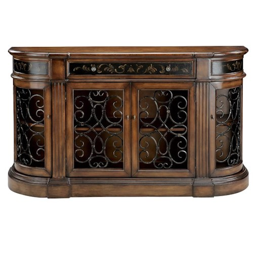 Stein World Credenzas 4-Door Medium Brown Credenza with Cutout Detail
