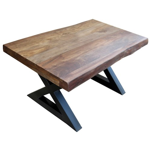Morris Home Furnishings Living On The Edge Small Wood Top Cocktail Table with Metal Legs