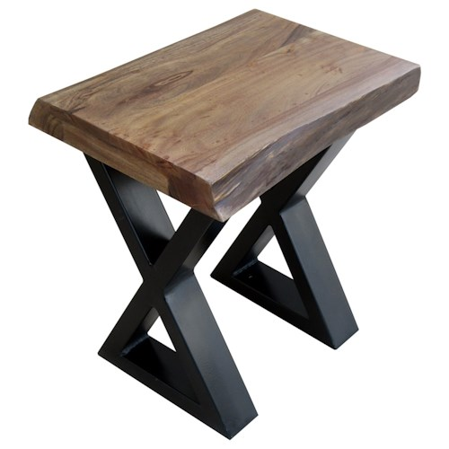 Morris Home Furnishings Living On The Edge Wood Top Chairside Table with Metal Legs