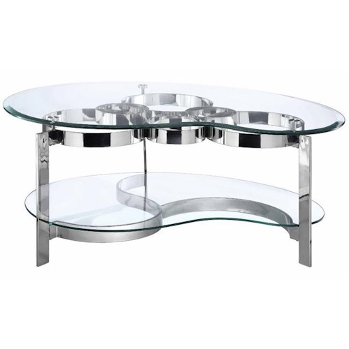 Stein World Mercury Freeman Cocktail Table w/ 2 Glass Shelves