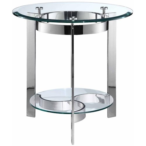 Stein World Mercury Round End Table w/ Glass Top