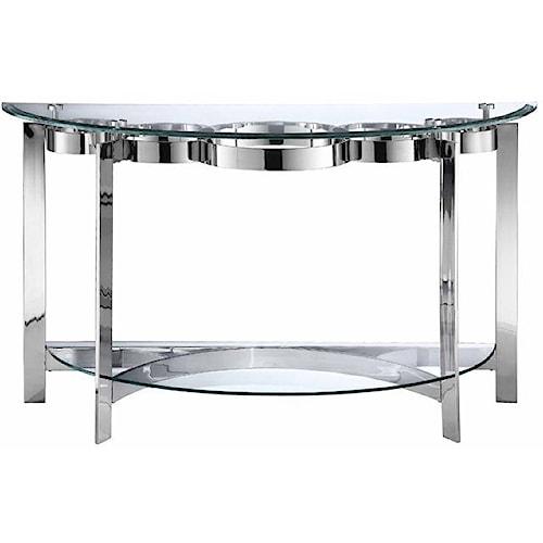 Stein World Mercury Demilune Console Table w/ Glass Top