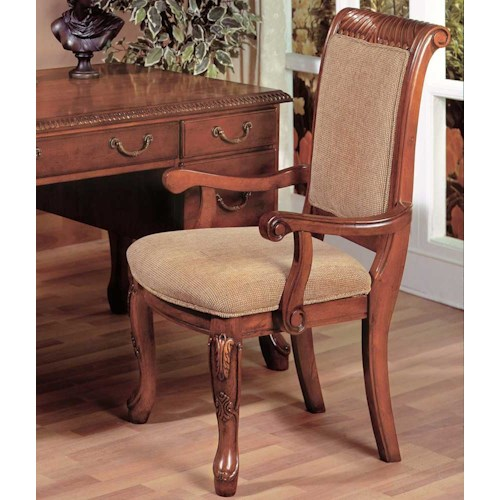 Morris Home Furnishings Harmony  Traditional Upholstered Seat Dining Arm Chair