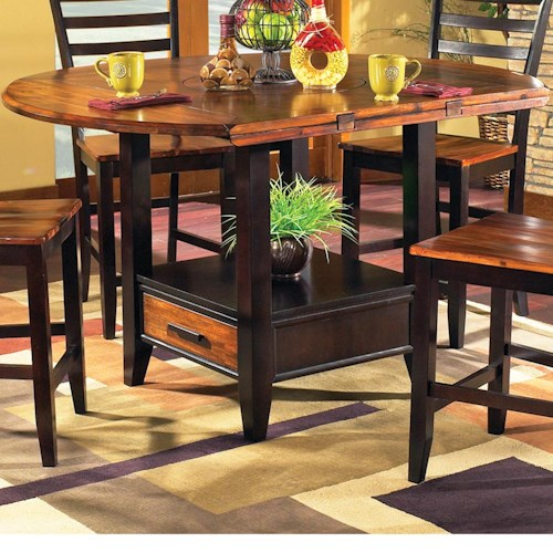 Morris Home Furnishings Abaco Solid Wood Acacia Top Round  Storage Base Counter Table with Drop Leaves