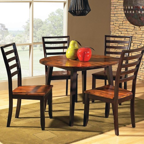 Vendor 3985 Abaco 5-Piece Drop Leaf Leg Table with Ladder Back Chairs