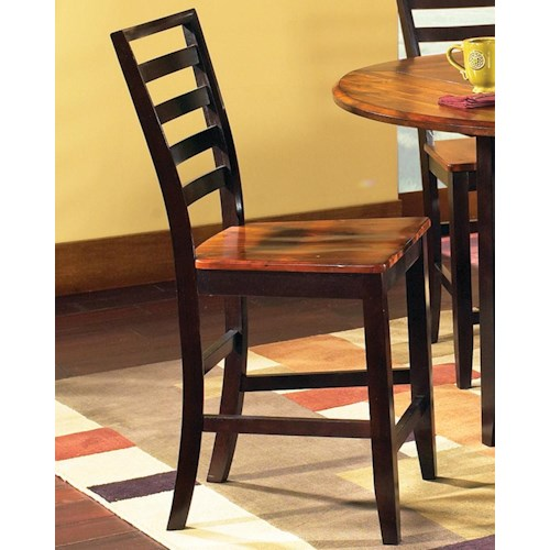 Morris Home Furnishings Abaco Solid Wood 2-Tone Ladder Back Counter Stool
