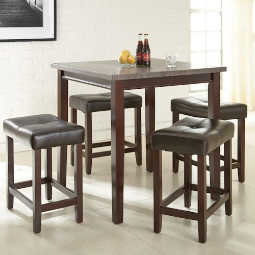 Morris Home Furnishings Aberdeen 5 Piece Counter Table Set with Cushioned Stools
