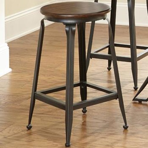 Morris Home Furnishings Adele Counter Stool with Wood Seat and Metal Base