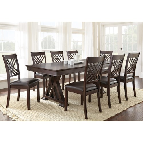 Vendor 3985 Adrian 9 Piece Table and Chair Set with 18