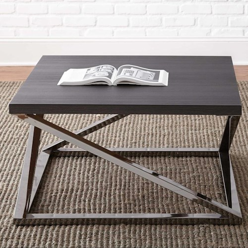 Morris Home Furnishings Aegean Square Cocktail Table with Metal Frame