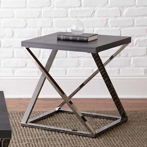 Steve Silver Aegean Square End Table with Metal Frame