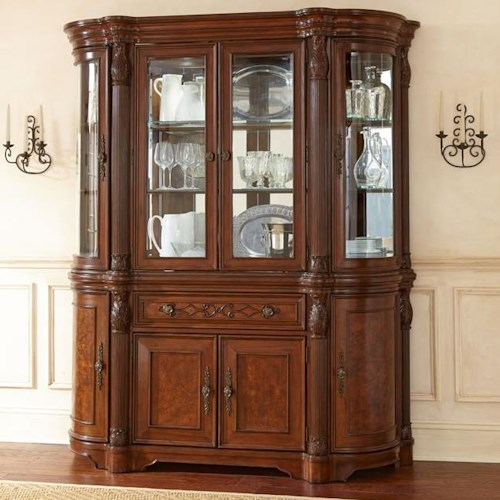 Steve Silver Alberta Buffet and Hutch with 4 Glass Doors