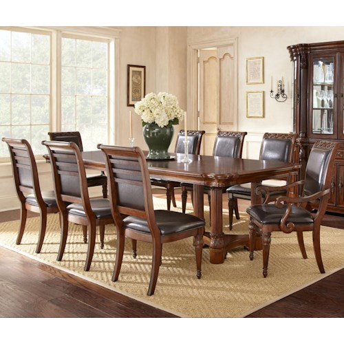 Steve Silver Alberta 9 Piece Dining Set with  2 18