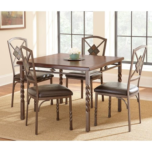 Morris Home Furnishings Annabella 5 Piece Dining Set with Spun Legs