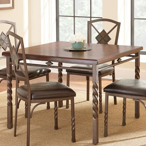 Vendor 3985 Annabella Square Dining Table with Spun Metal Legs