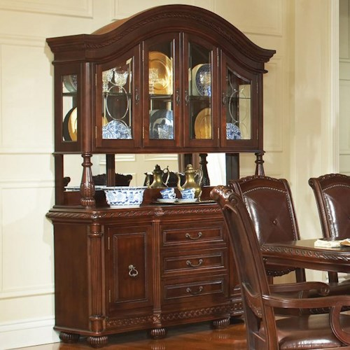 Morris Home Furnishings Antoinette Traditional Rich Brown Buffet & Hutch Set
