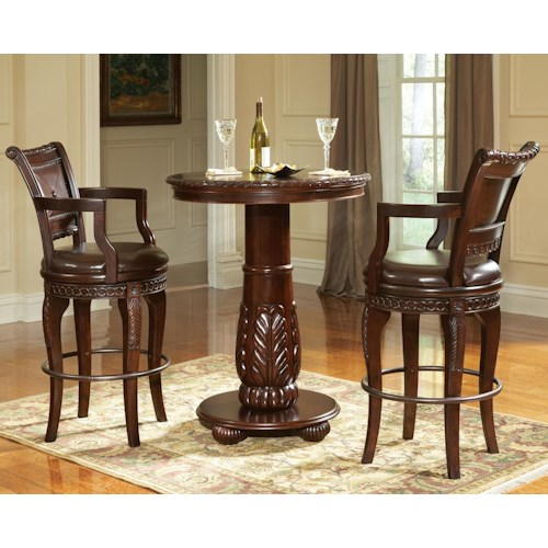 Morris Home Furnishings Antoinette 3-Piece Pedestal Pub Table & Bar Stool Set