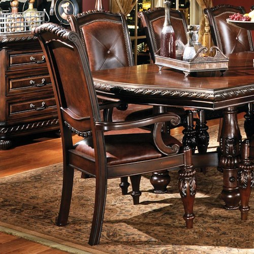 Morris Home Furnishings Antoinette Traditional Upholstered Dining Arm Chair