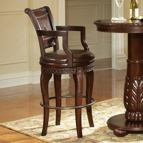 Vendor 3985 Antoinette Traditional Rich Brown Swivel Barstool