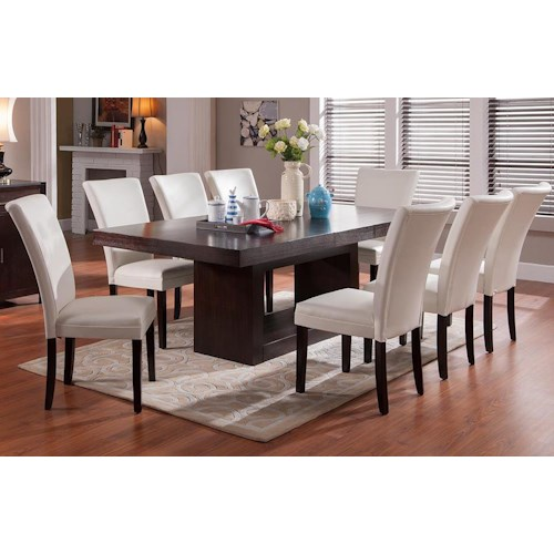 Morris Home Furnishings Antonio 9 Piece Dining Set with Berkley Parsons Chairs