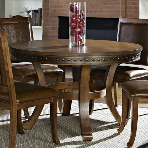 Morris Home Furnishings Ashbrook Transitional Round Dining Table with Pedestal Base
