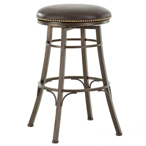 Steve Silver Bali Backless Swivel Bar Stool with Nailhead Trim