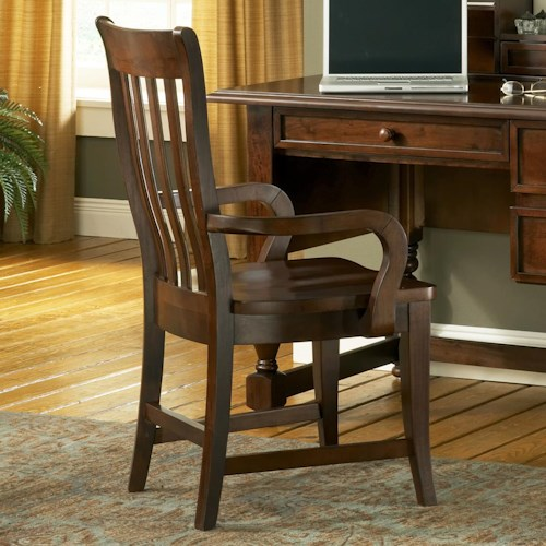 Morris Home Furnishings Bella Transitional Slat Back Wood Desk Arm Chair