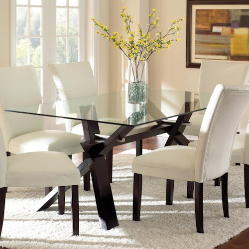 Steve Silver Berkley Dining Table with Clear Glass Top
