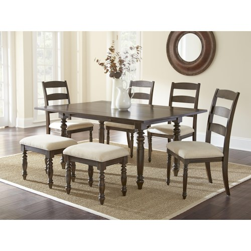 Vendor 3985 Bexley 7 Piece Dining Set with 2 8
