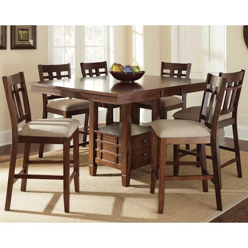 Vendor 3985 Bolton 7 Piece Counter Height Dining Set with Storage Table