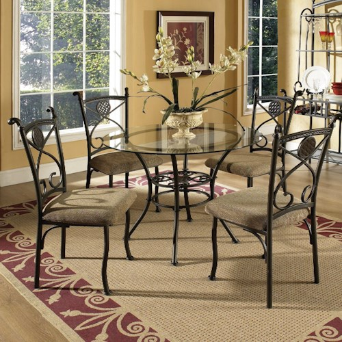 Morris Home Furnishings Brookfield 5 Piece Dining Set with Glass Top Table