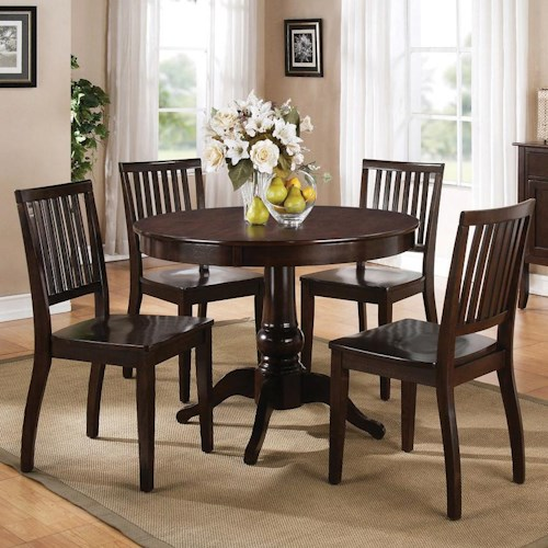 Steve Silver Candice 5 Piece Round Pedestal Table with Slat Back Side Chairs Dining Set