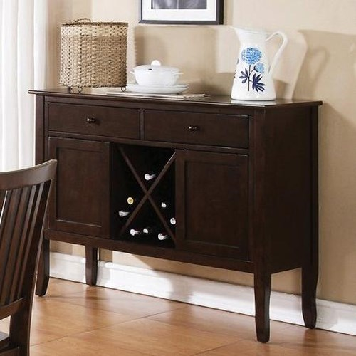 Morris Home Furnishings Candice Candice Server with Wine Storage and Tapered Legs