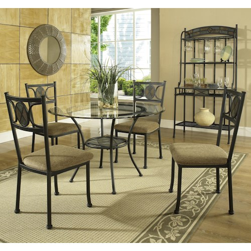 Morris Home Furnishings Carolyn 5-Piece Casual Round Dining Table & Side Chair Set