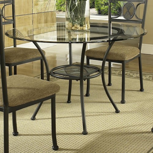 Morris Home Furnishings Carolyn Single Pedestal Round Glass Top Dining Table